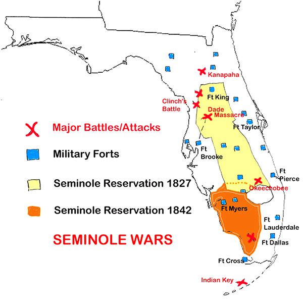 Tampa Bay History Center, Map of the battles of the Seminole Wars Graphic courtesy Florida Insider, FloridaHistory.org