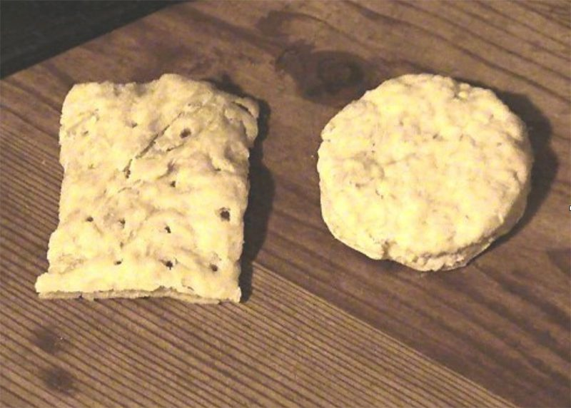 Photograph of hard tack, biscuits primarily used by explorers on ship.