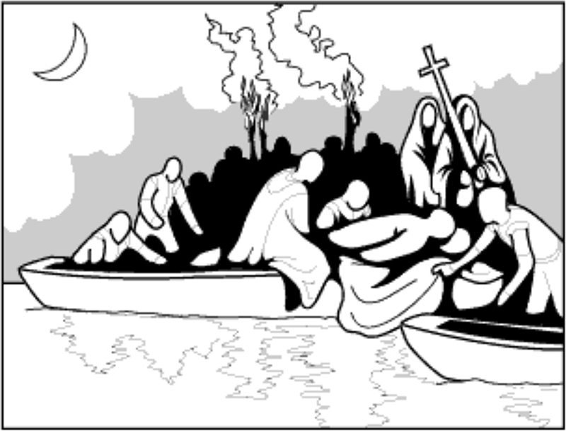 Illustration of when DeSoto died, his men buried him in the Mississippi River.