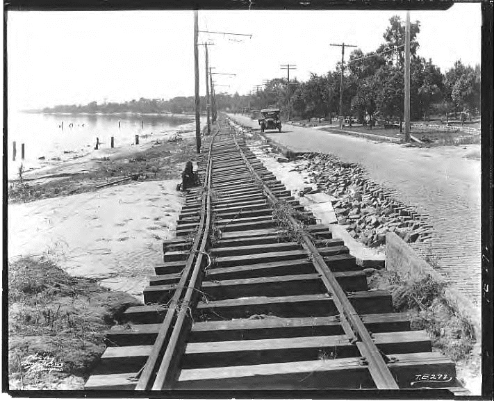 View of Tampa's Bayshore Boulevard showing hurricane damage to streetcar tracks. October 29, 1921, Burgert Brothers Photographic Collection. Courtesy, Tampa-Hillsborough County Public Library System.