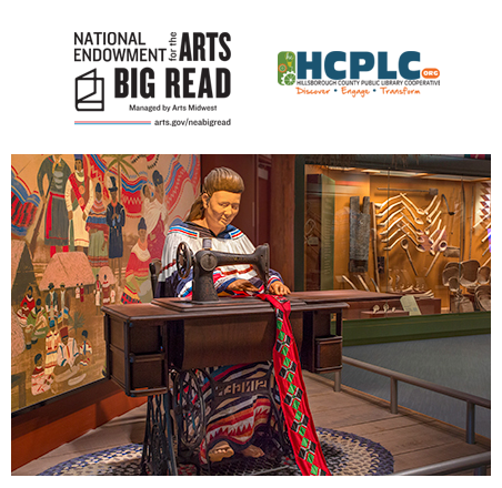 National Endowment of the Art BIG READ and Hillsborough County Public Library Cooperative logo and photo of the Tampa Bay History Center's American Indian gallery