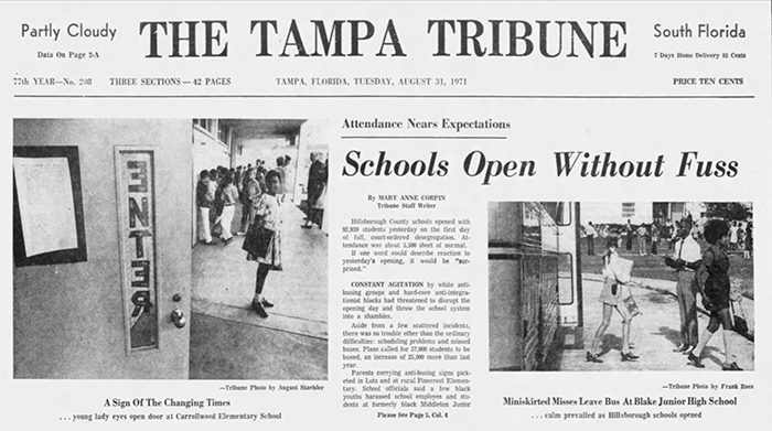 Tampa Bay History Center, Florida Conversations, 50 years of School Desegregation, The Tampa Tribune front page August 31, 1972